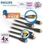iBood: 3er Pack HDMI 1.4 Kabel (3D fähig) 2 Meter von Philips