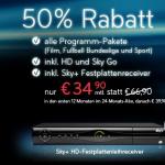 Special Angebot: Sky Komplett-Paket (mit HD Sender, SkyGo und Sky+ Festplattenreceiver) für nur 34,90€ im Monat