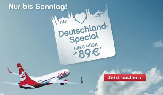 Inlandsflüge Hin- und Rückflug ab 89€ bis zum 9.6.2013