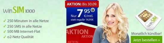 7,95€ o2 Tarif ohne Vertragslaufzeit bei winSIM - 250 Minuten:SMS in alle Netze + 500MB Datenflat