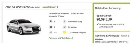 Audi A5 Sportback bei Europcar für ein ganzes Wochenende für nur 96,09€ mieten