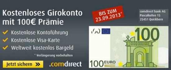 Comdirect Girokonto 100€ Feierprämie bei Eröffnung eines Girokontos