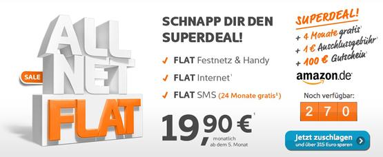 Simyo Allnet Flat, SMS Flat und Internet Flat
