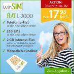 WinSIM o2 FLAT L2000 Allnet-, SMS- und Internet-Flat 2 GB mit 14,4 MBit/s nur 17,95€ mtl.