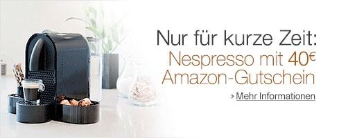 40 amazon gutschein beim kauf einer nespresso maschine amazon gutscheine. Black Bedroom Furniture Sets. Home Design Ideas