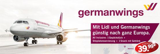 Lidl germanwings fliegen one way günstig
