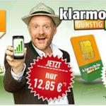 klarmobil Allnet-Spar-Flat 250 (Allnet-Flat mit 450MB Internet) für effektiv 13,26€ mtl. oder Allnet-Spar-Flat-1000 (Allnet- & SMS-Flat mit 1,5 GB Internet) für effektiv 23,26€ mtl.