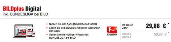 BILDplus Bundesliga Angebot Aktion Deal günstig Gutschein