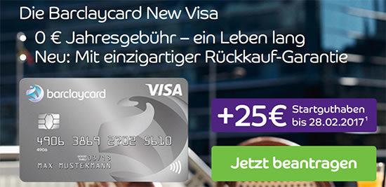 Barclaycard Visa Kreditkarte Startguthaben kostenlos kostenfrei