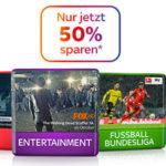 Sky: 50% Rabatt auf viele Pakete inkl. Receiver + Sky Go schon ab 11€